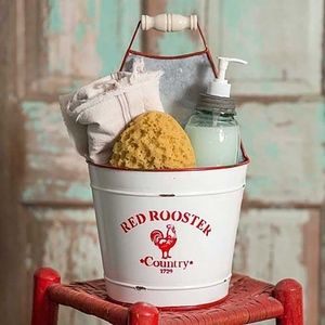 Vintage Red Rooster Bucket Caddy. Farmhouse Style